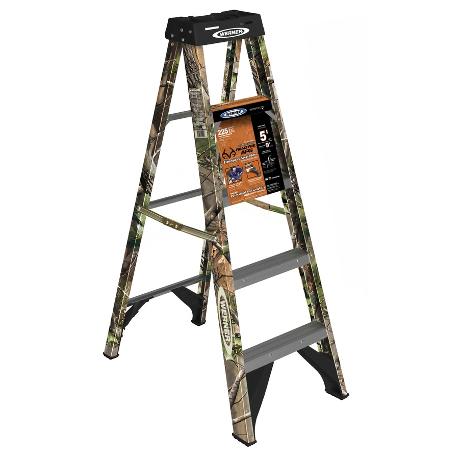 werner 5ft fiberglass 225lb type ii camo step ladder - Werner Ladder