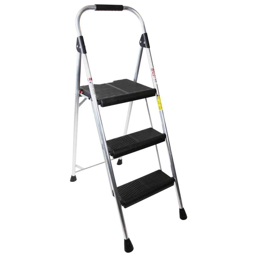 Werner 3-Step Type 2 - 225 lbs. Silver Aluminum Foldable Step Stool  sc 1 st  Loweu0027s : cosco steel step stool 3 step - islam-shia.org