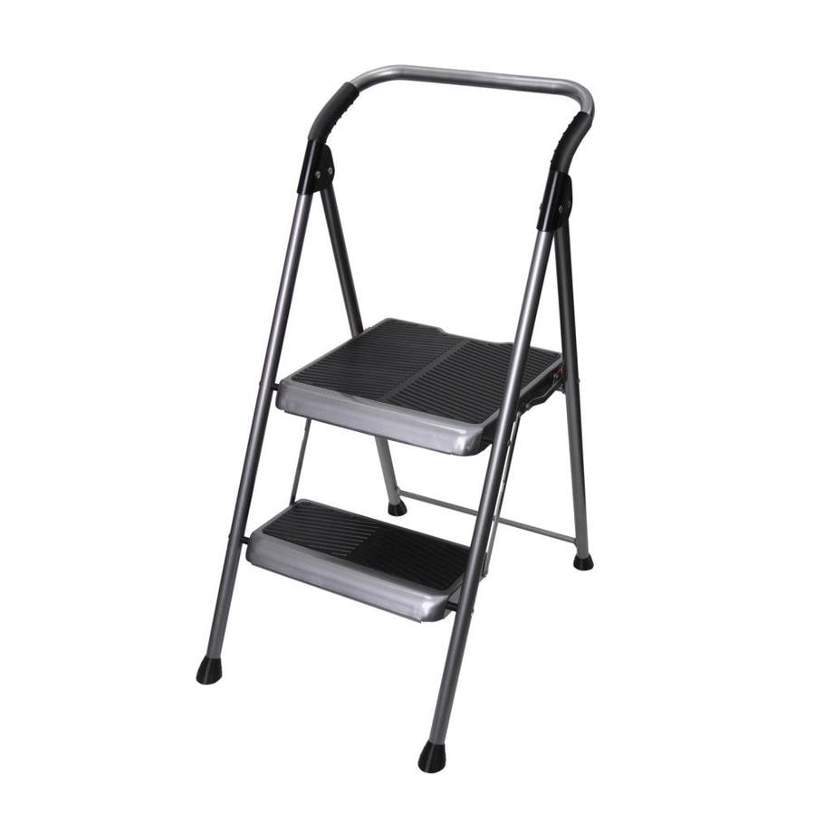 werner 2step 250lb gray steel step stool