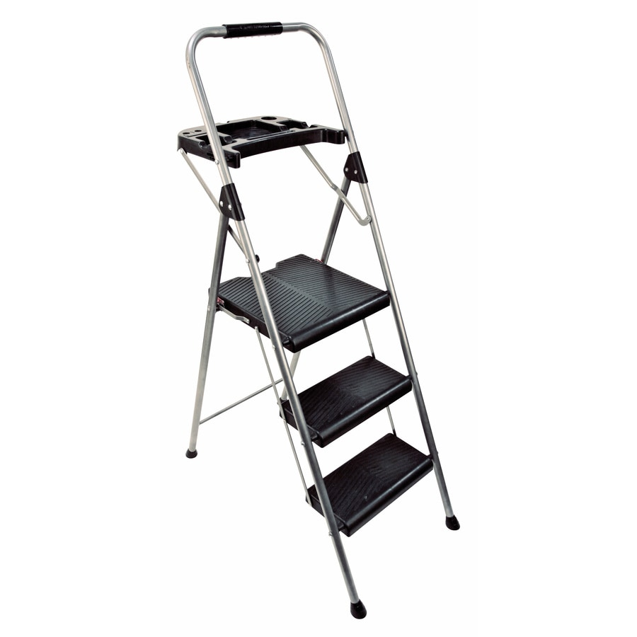 Werner 3-Step 225-lb Gray Steel Step Stool