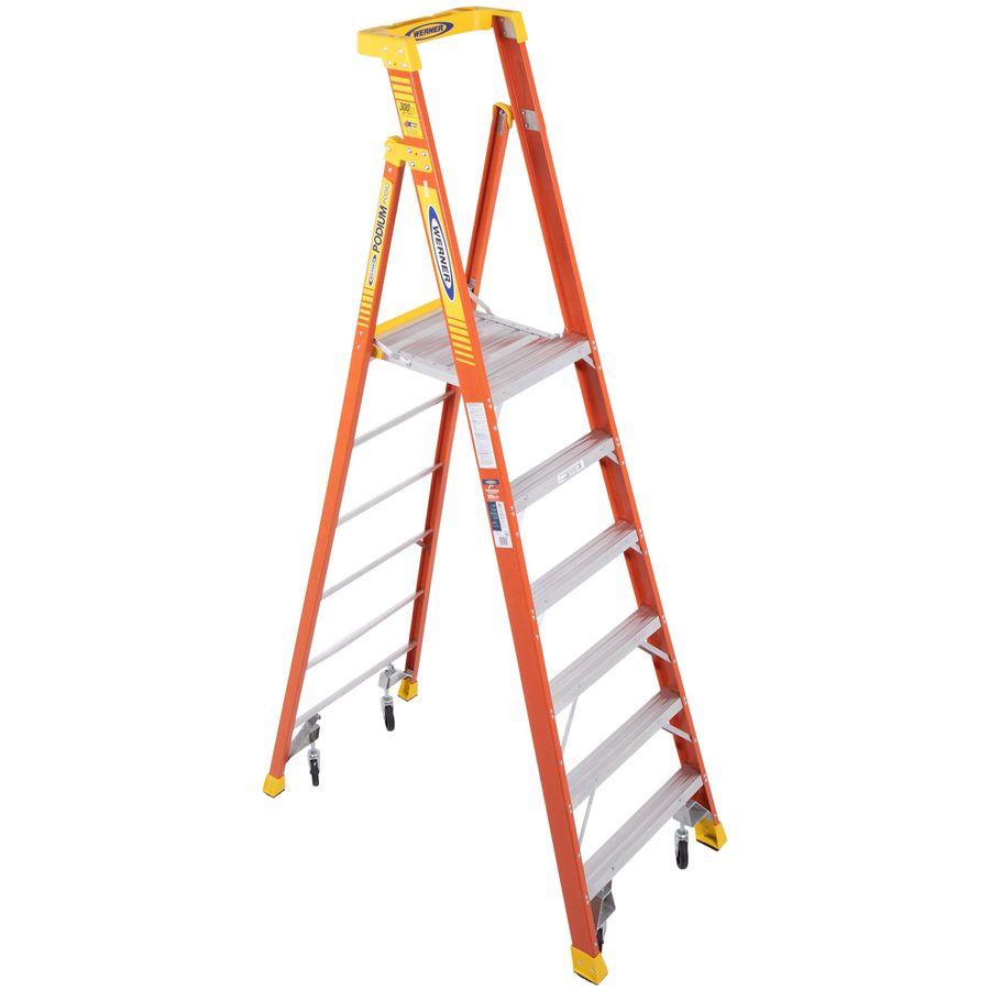 Werner Podium 6-ft Fiberglass 300-lb Type IA Platform Ladder