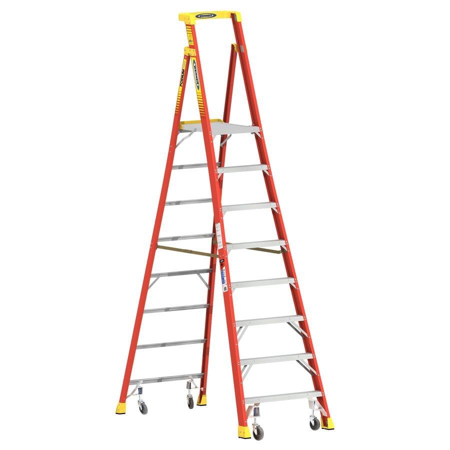 Werner Podium 8-ft Fiberglass 300-lb Type IA Platform Ladder
