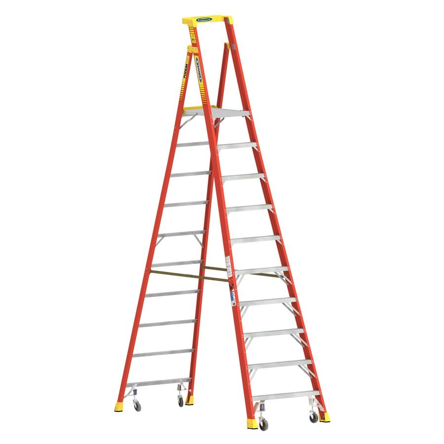 Werner 10-ft Fiberglass Type 1A - 300 lbs. Platform Step Ladder