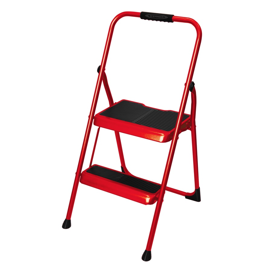 Shop Werner 2 Step 200 Lb Red Steel Foldable Step Stool At