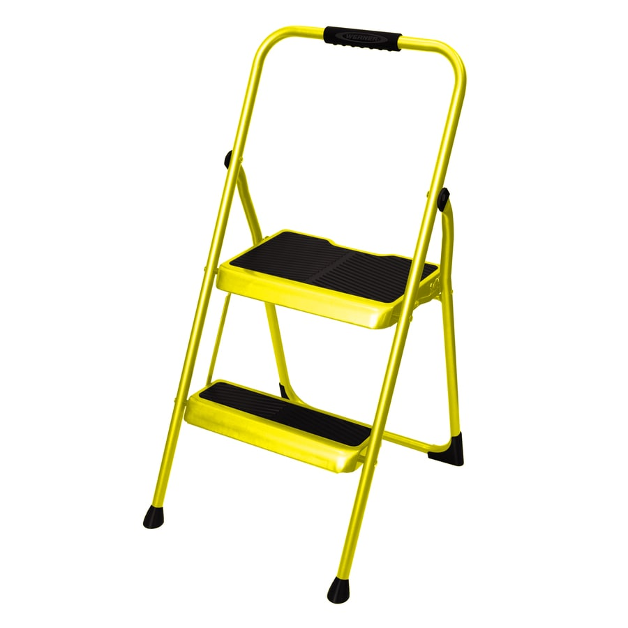 Shop Werner 2 Step 200 Lb Yellow Steel Foldable Step Stool