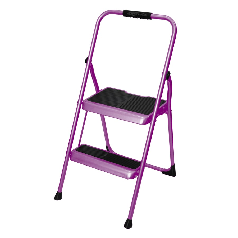 Werner 2 Step 200 Lb Purple Steel Foldable Step Stool At
