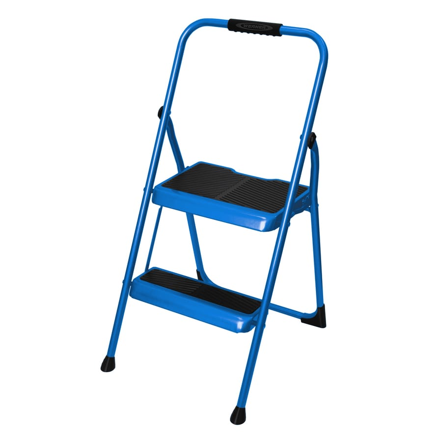 Werner 2-Step 200-lb Load Capacity Bright Blue Steel Step Stool