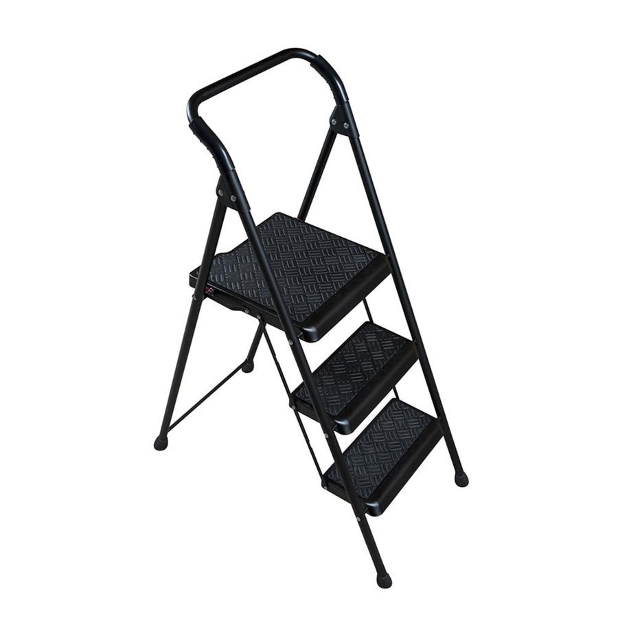 Werner 3 Step 250 Lbs Capacity Black Steel Foldable Stool