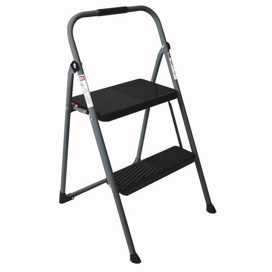 Werner 2 Step 225 Lbs Capacity Gray Steel Foldable Stool