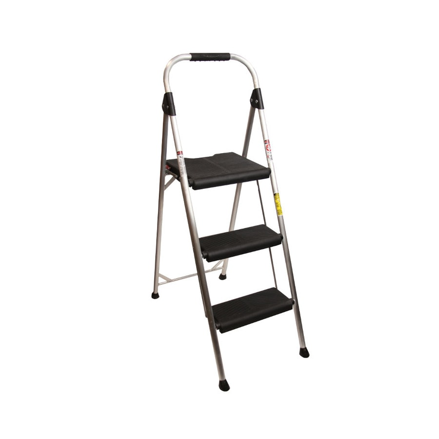 Werner 3 Step 250 Lbs Capacity Silver Aluminum Foldable