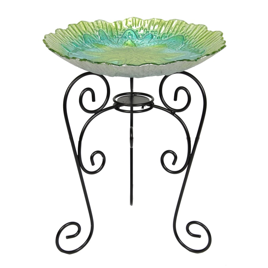 Beckett 21.9-in H Round Glass Birdbath