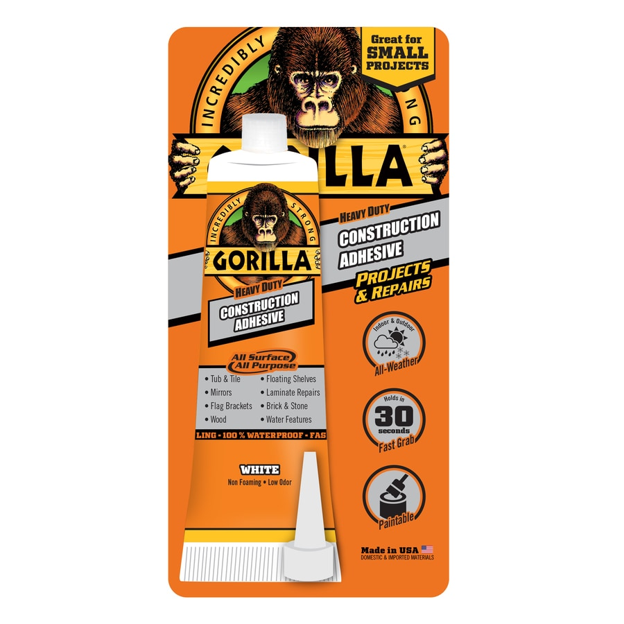 GORILLA White Interior/Exterior Multi-Purpose Construction Adhesive (Actual Net Contents: 2.5-fl oz)