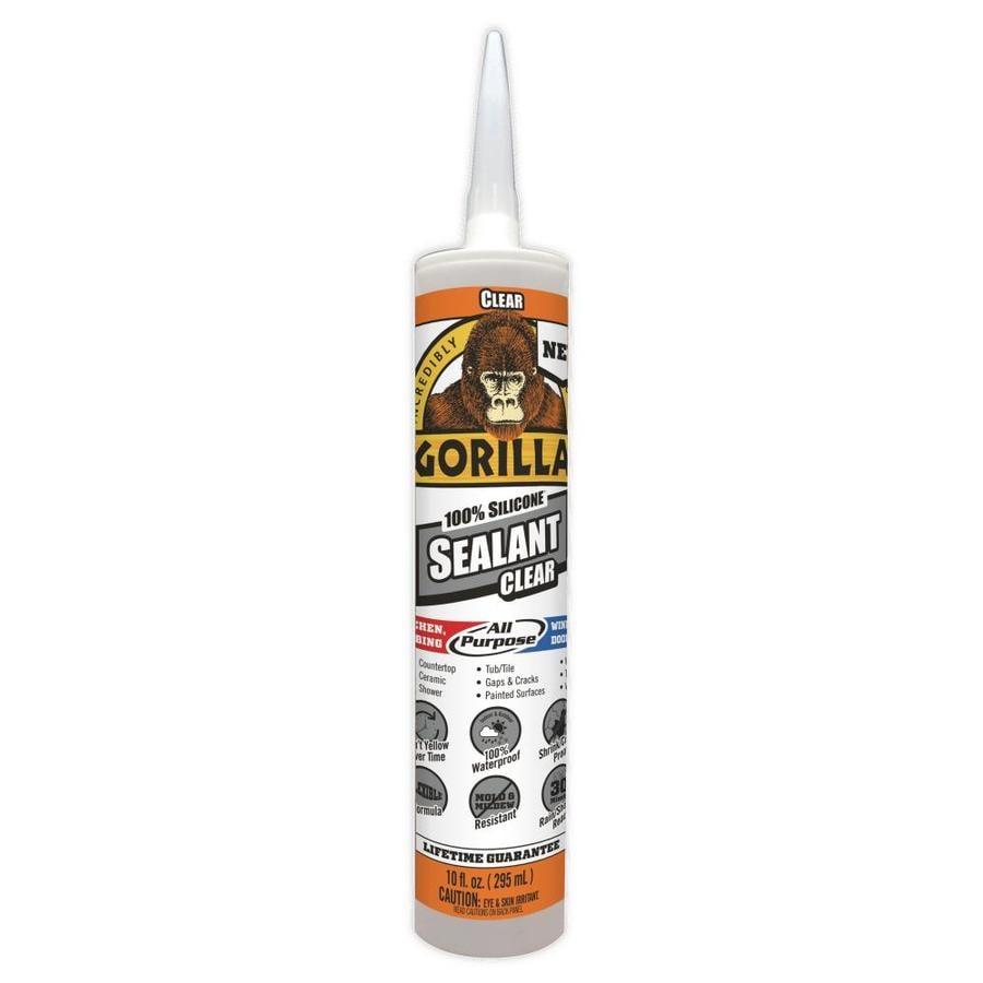 Shop gorilla 100 silicone all purpose sealant 10 oz clear silicone caulk at - Exterior sealant paint decor ...