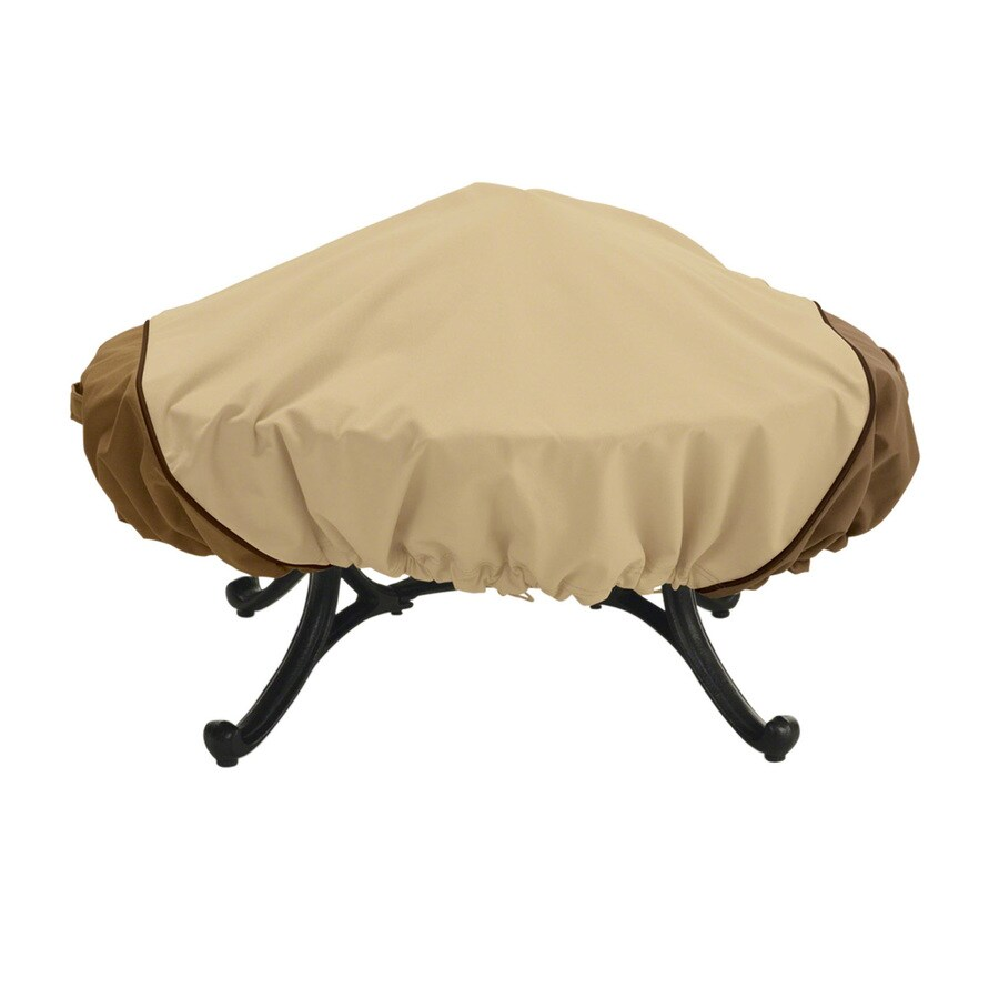 shop classic accessories 44 in pebble bark earth round firepit cover at. Black Bedroom Furniture Sets. Home Design Ideas