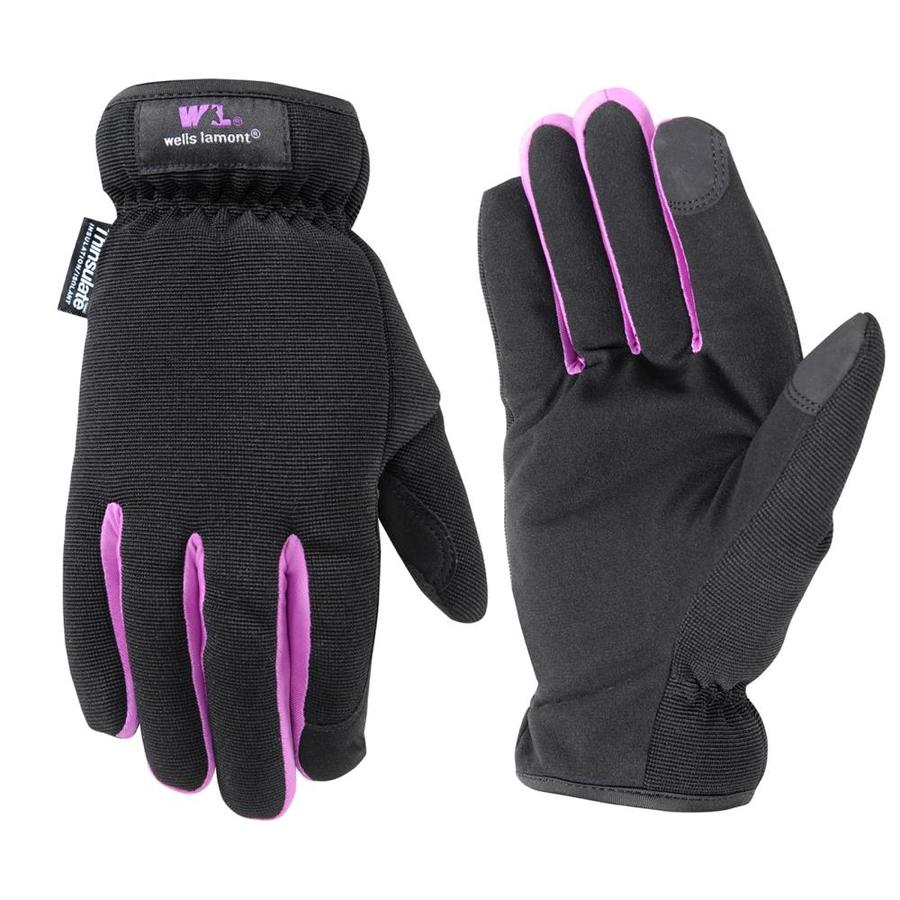 WELLS LAMONT Medium Female Black Polyester Insulated Winter Gloves