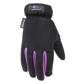 WELLS LAMONT Medium Female Black/Magenta Polyester Insulated Winter Gloves