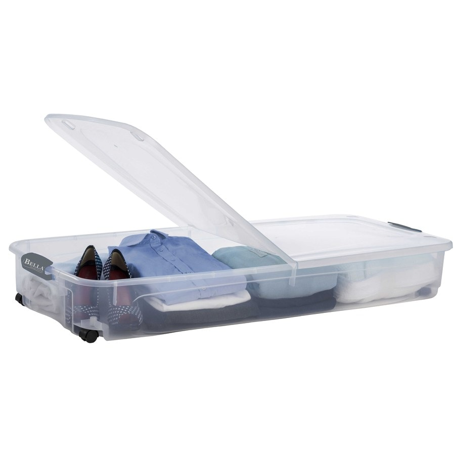 Style Selections Bella Storage Solution 70-Quart Clear Underbed Tote with Latching Lid