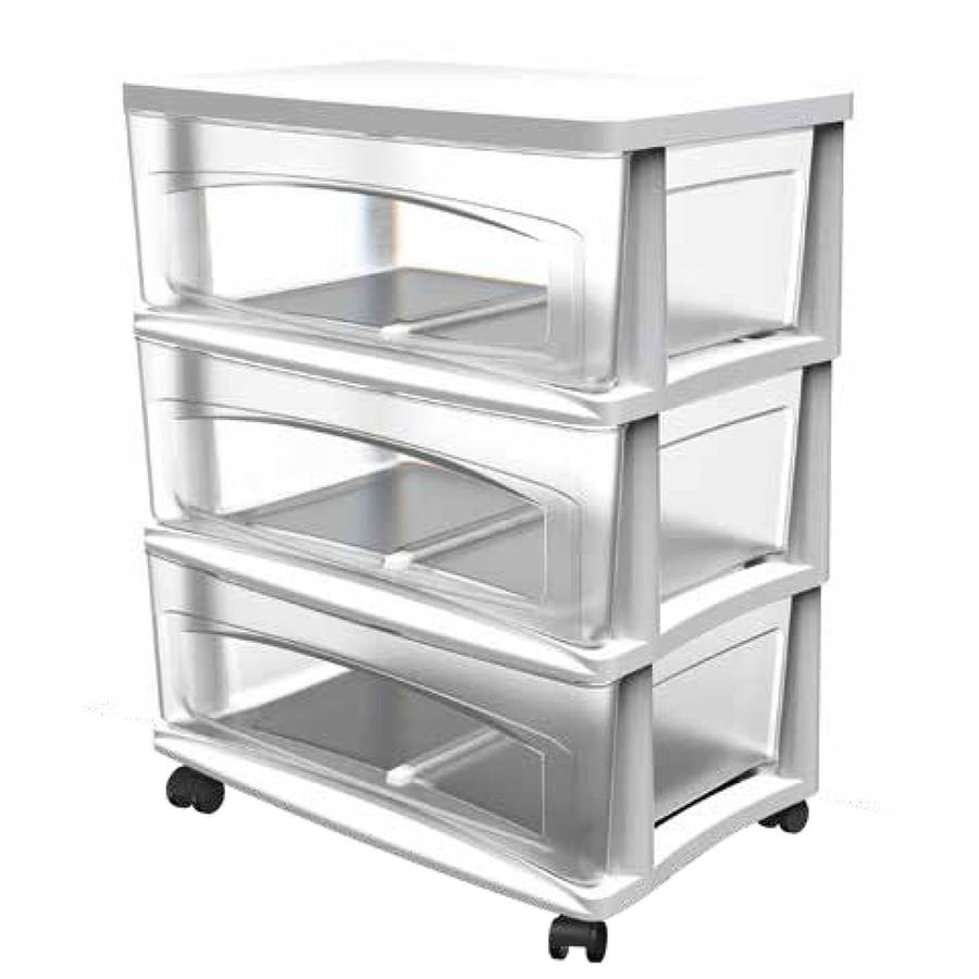 Style Selections 21.75-in x 24.625-in 3-Drawer White Clear Plastic Cart  sc 1 st  Loweu0027s & Shop Style Selections 21.75-in x 24.625-in 3-Drawer White Clear ...