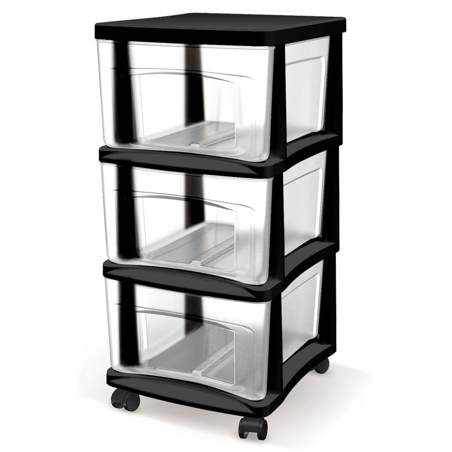 Shop Style Selections 145 in x 26 in 3 Drawer Black Clear Plastic