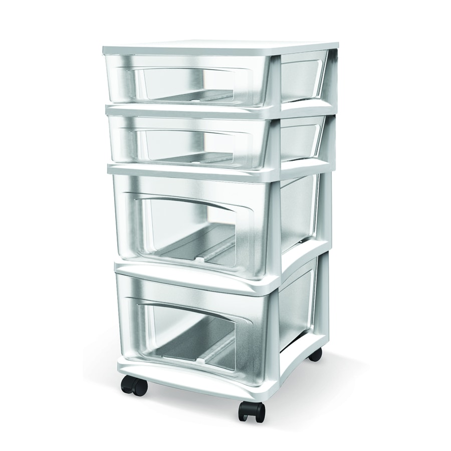 BELLA Contemporary Storage 14.5-in x 26-in 4 White Clear Plastic Cart