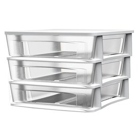 Style Selections 14.5 In W X 12.75 In H 3 Drawers White Clear