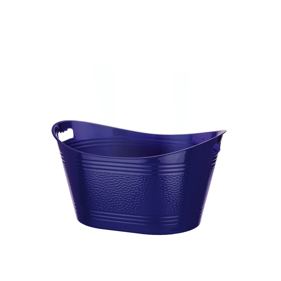 Bella Storage Solution 15.25-in W x 11.5-in H x 21-in D Solid Blue Metallic Plastic Tub