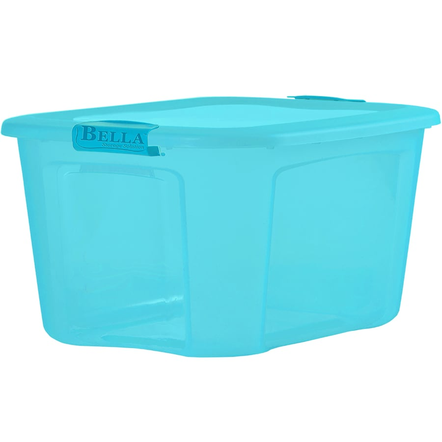 Bella Storage Solution 71 Quart Blue Tote With Latching Lid