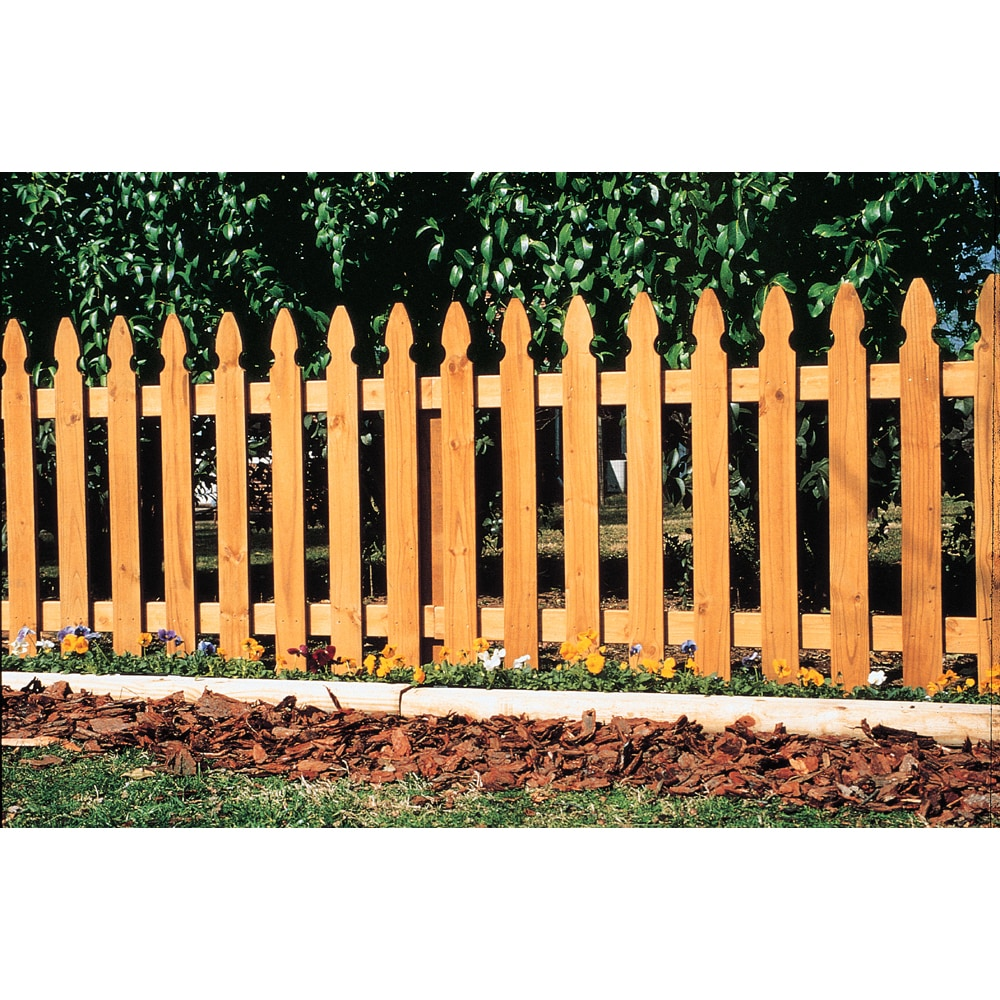 "Wood Fencing 42"" x 96"" Gothic Top Spaced Picket Panel"