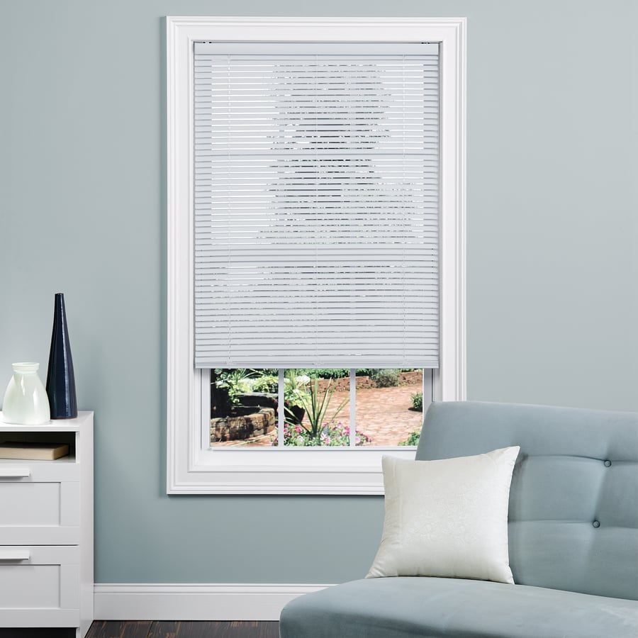 project source 1 in cordless white vinyl mini blinds common 33 in actual 32 5 in x 64 in at. Black Bedroom Furniture Sets. Home Design Ideas