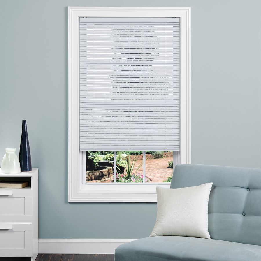 Project Source 1-in Cordless White Vinyl Light Filtering Mini-Blinds (Common 47-in; Actual: 46.5-in x 64-in)