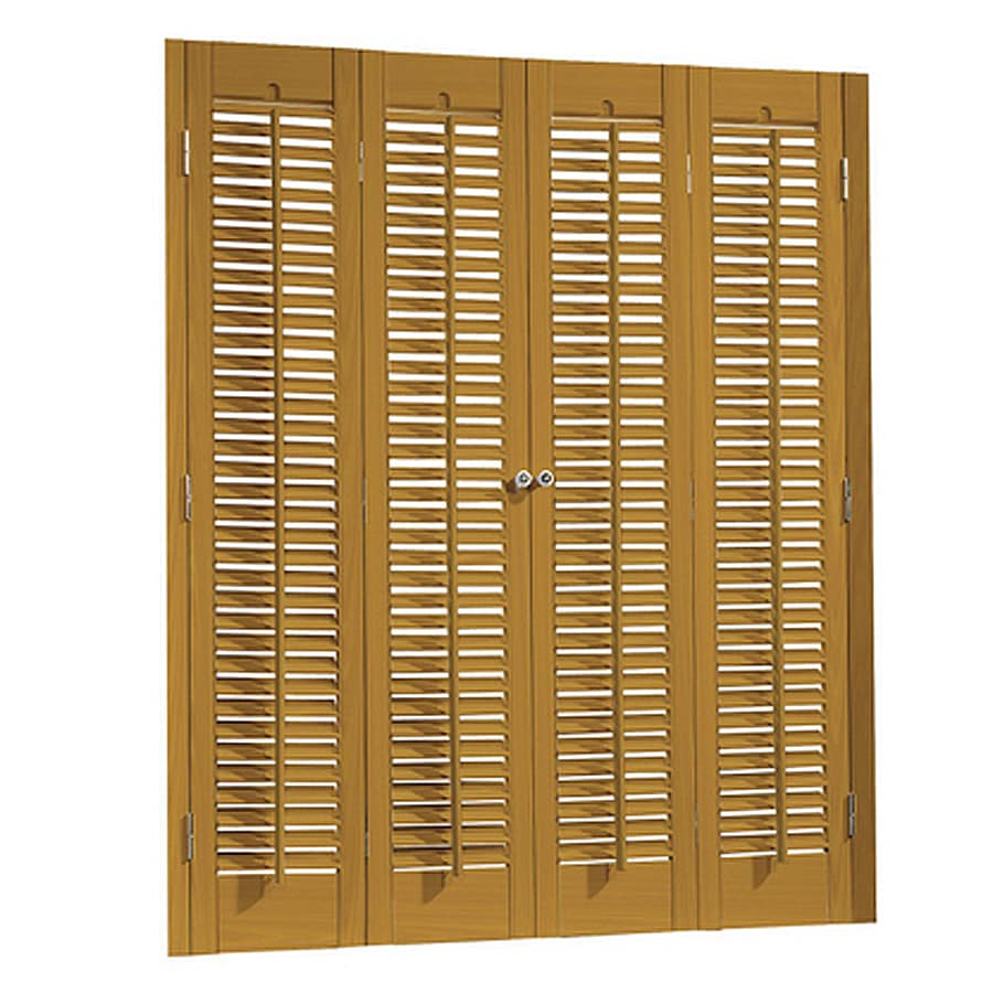 allen + roth 27-in to 29-in W x 28-in L Colonial Golden Oak Faux Wood Interior Shutter