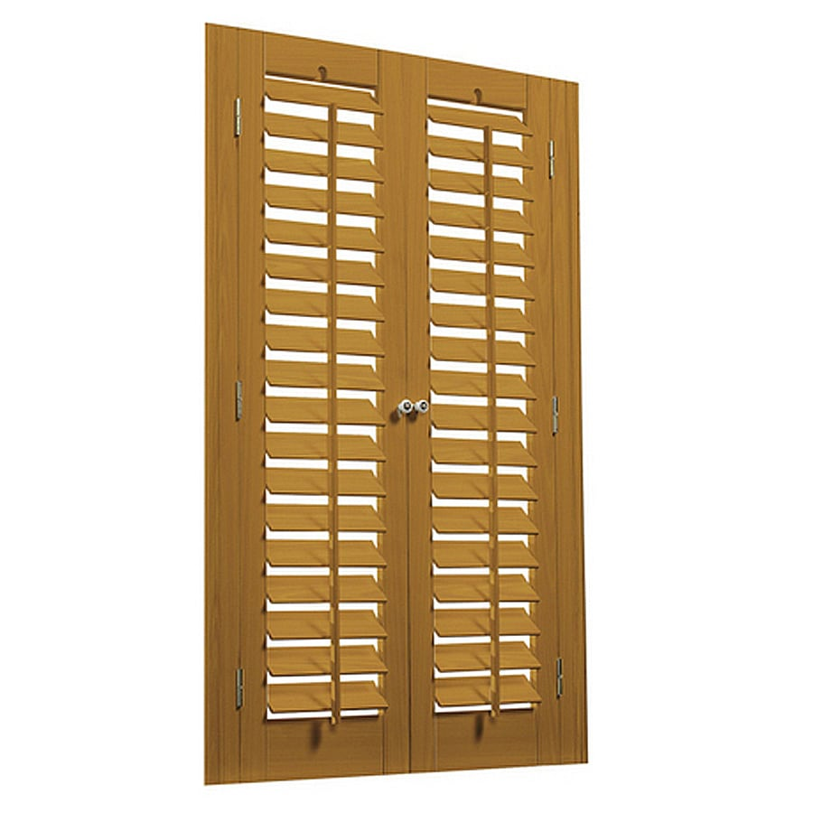 allen + roth 23-in to 25-in W x 36-in L Plantation Golden Oak Faux Wood Interior Shutter