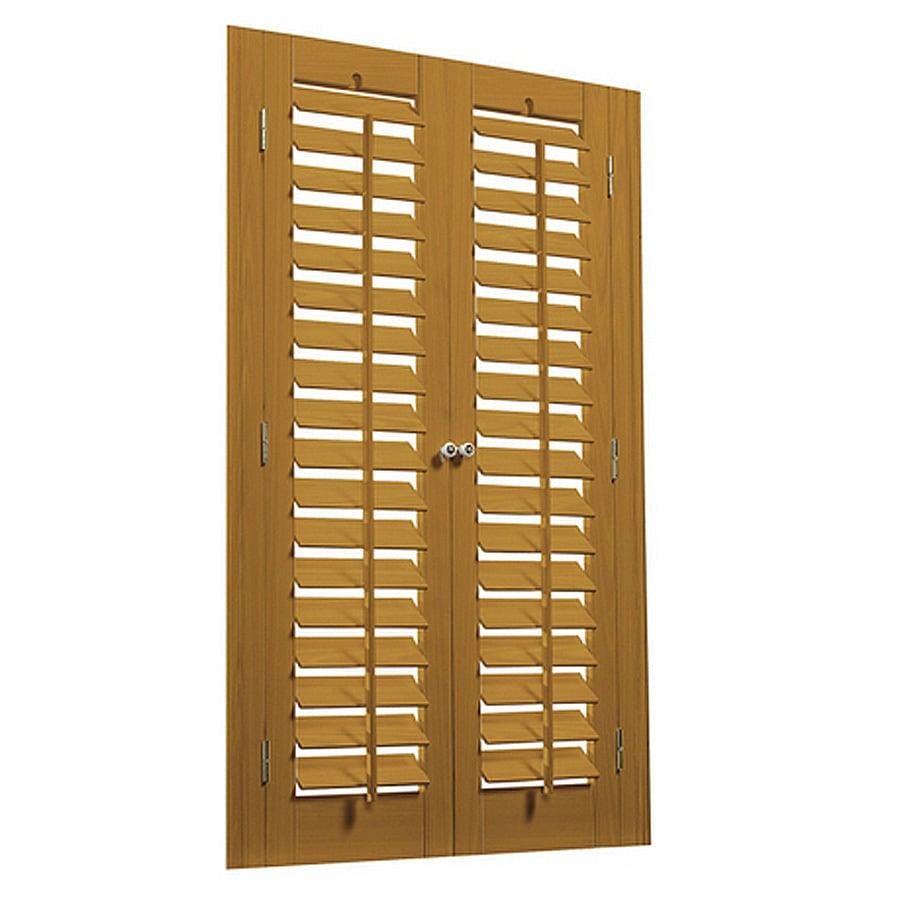 allen + roth 31-in to 33-in W x 36-in L Plantation Golden Oak Faux Wood Interior Shutter