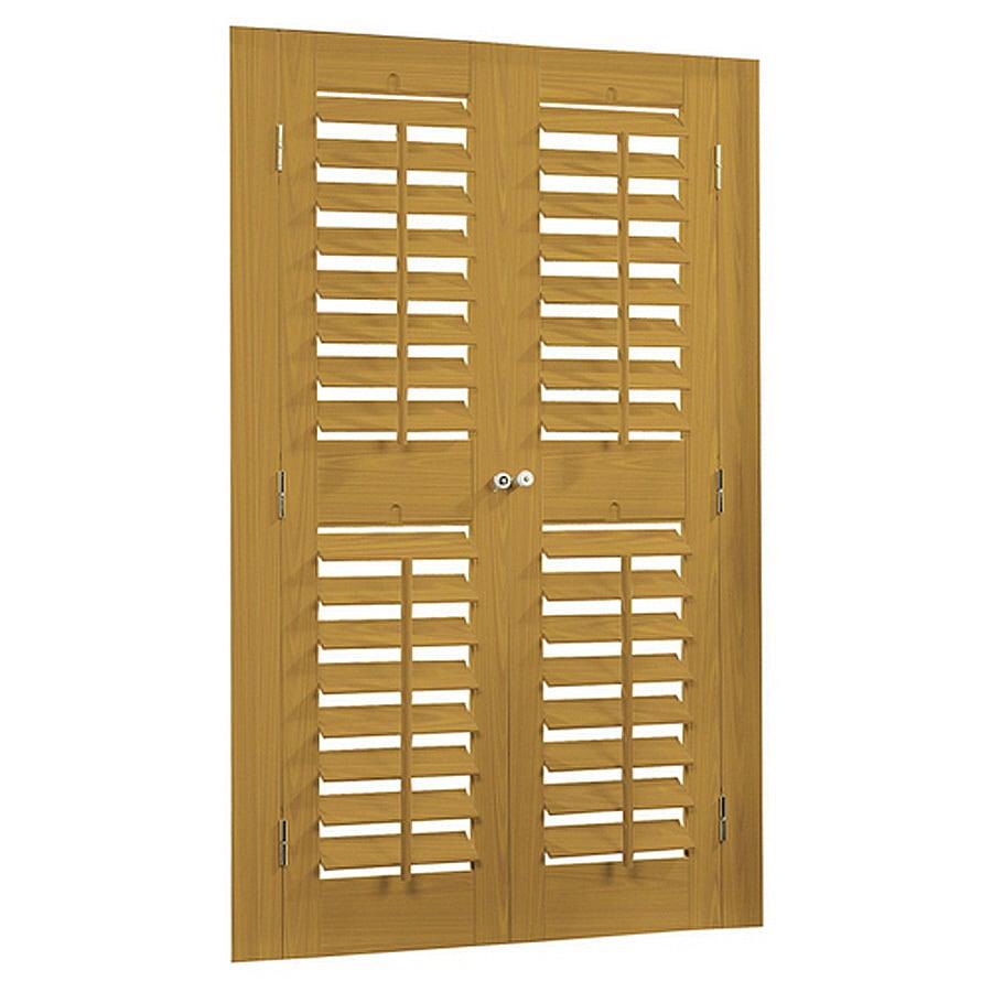 allen + roth 31-in to 33-in W x 48-in L Plantation Golden Oak Faux Wood Interior Shutter