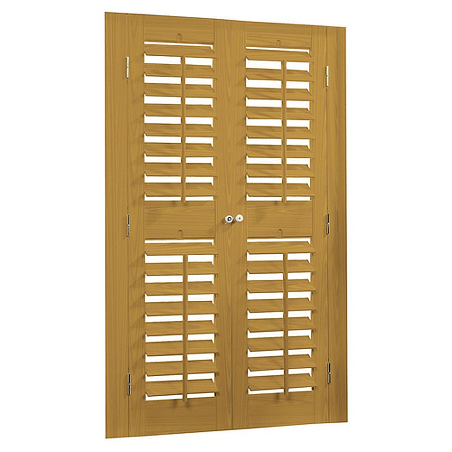 allen + roth 35-in-37-in W x 54-in L Plantation Golden Oak Faux Wood Interior Shutter