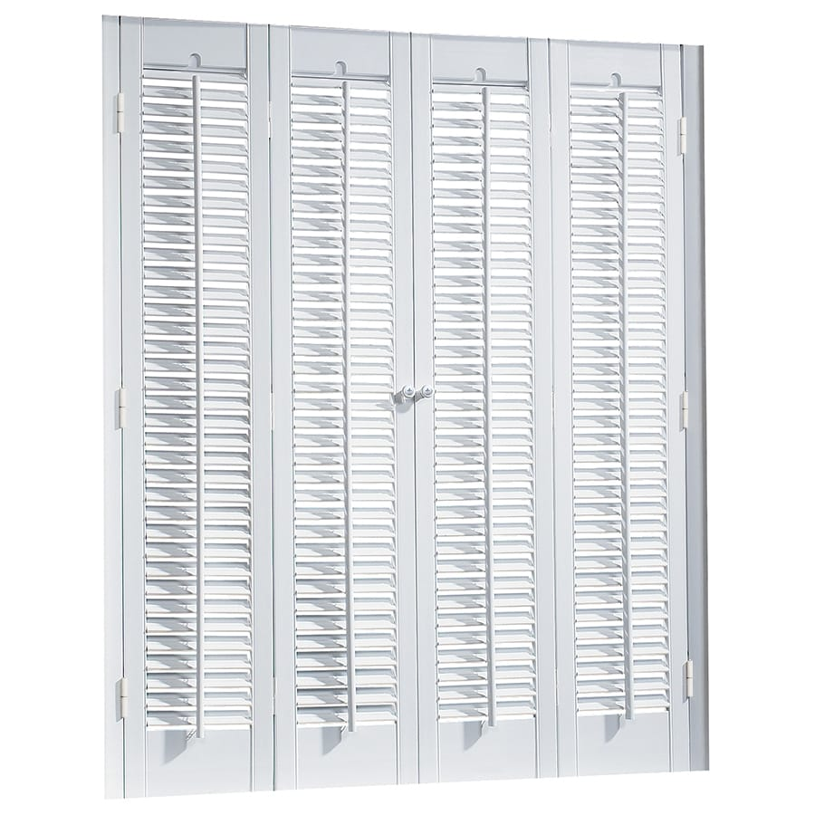 Shop allen roth 39 in to 41 in w x 36 in l colonial for Indoor wood shutters white