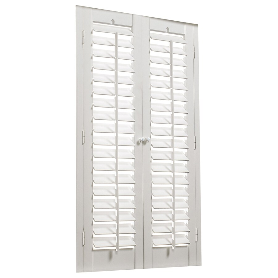 allen + roth 39-in to 41-in W x 24-in L Plantation White Faux Wood Interior Shutter
