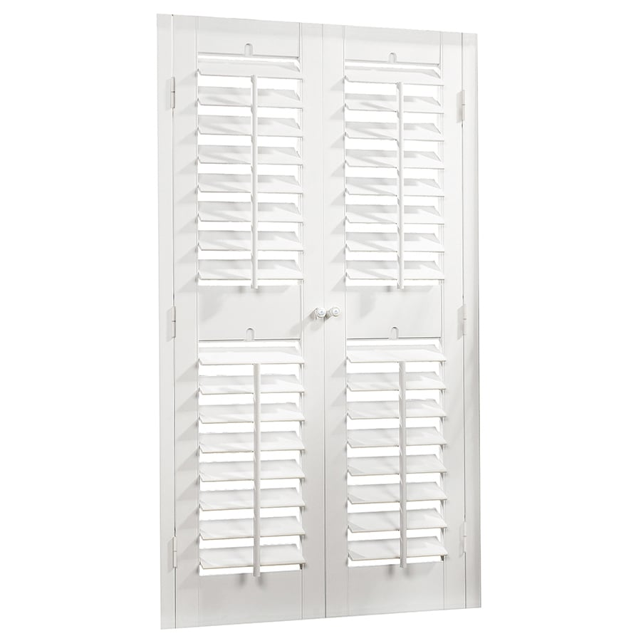 allen + roth 23-in to 25-in W x 48-in L Plantation White Faux Wood Interior Shutter