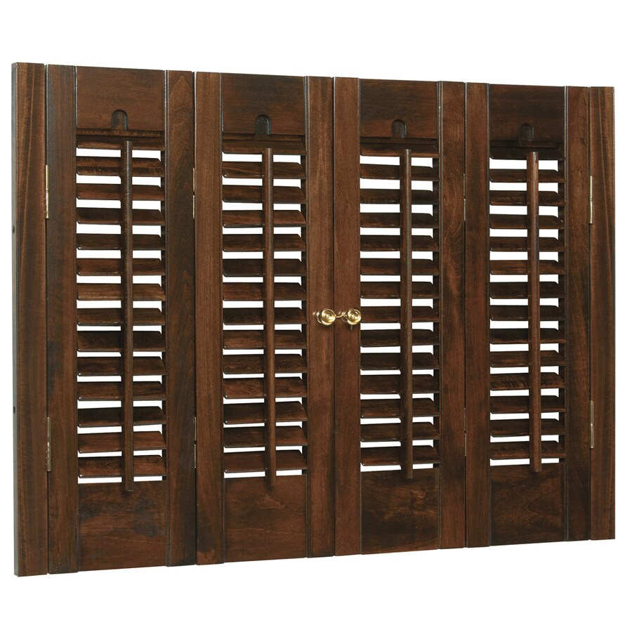Style Selections 27-in to 29-in W x 28-in L Colonial Mahogany Wood Interior Shutter