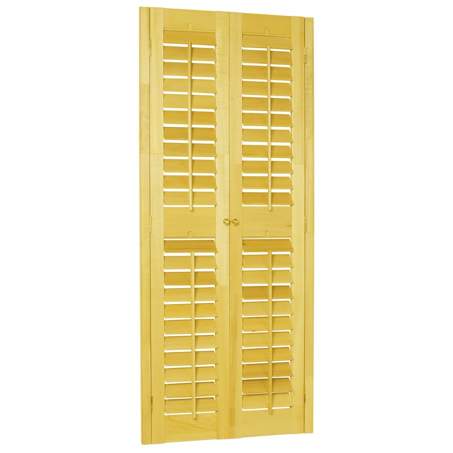 Style Selections 31-in to 33-in W x 48-in L Plantation Golden Oak Wood Interior Shutter