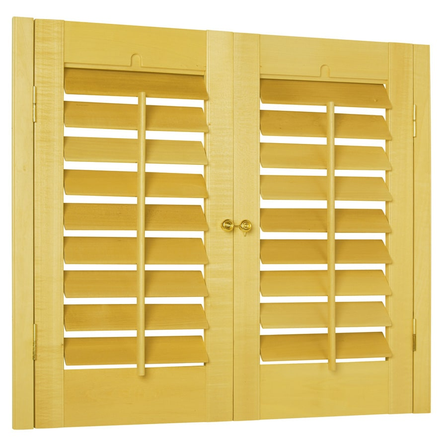 Style Selections 27-in to 29-in W x 36-in L Plantation Golden Oak Wood Interior Shutter