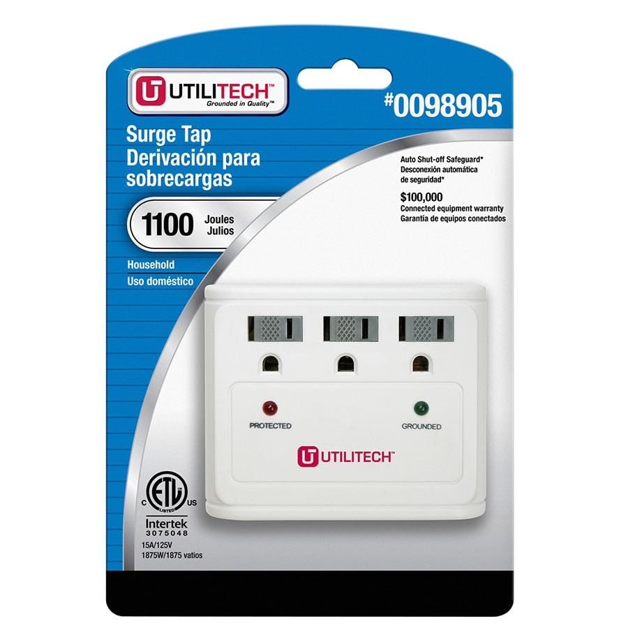 Utilitech 3-Outlet 1100 Joules General Use Surge Protector (Auto-Off Safety)