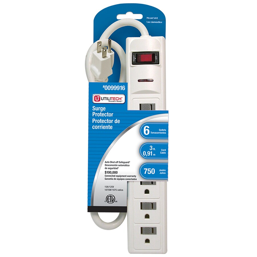 Utilitech 6-Outlet 750 Joules General Use Surge Protector (Auto-Off Safety)