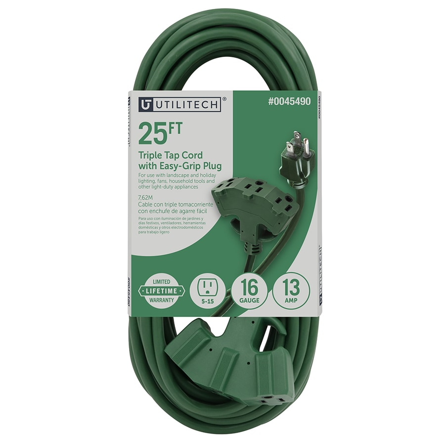 Utilitech 25-ft 3-Outlet 16/3 Indoor/Outdoor Extension Cord