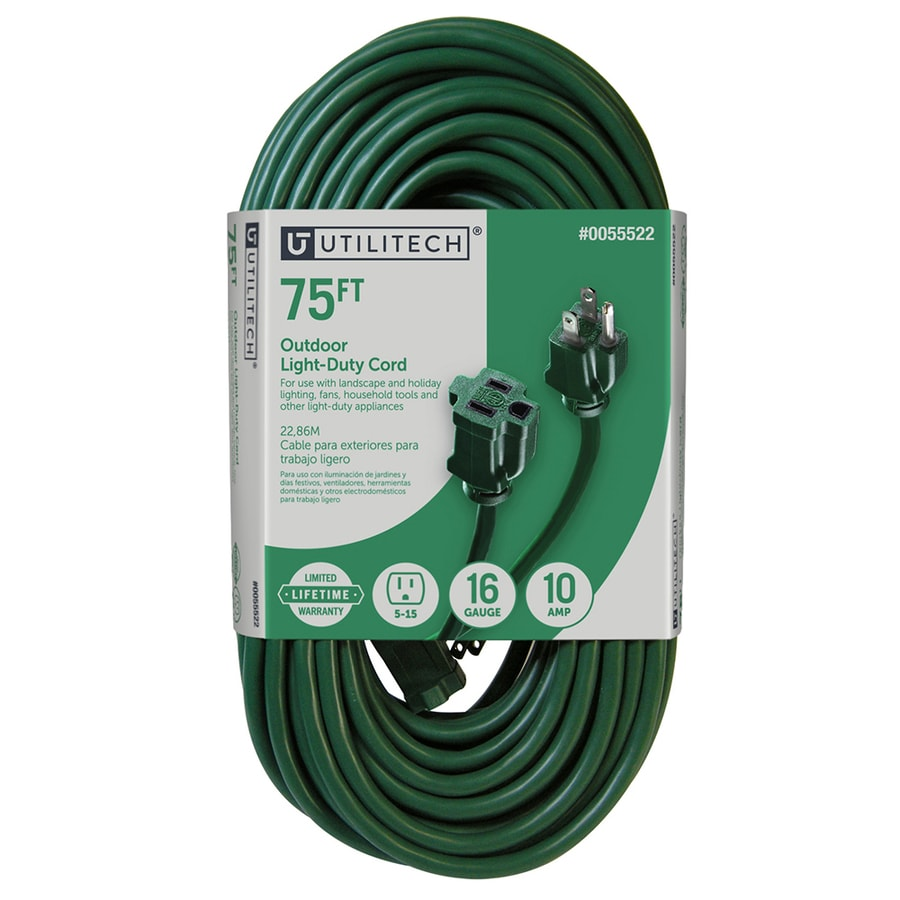 Utilitech 75-ft 10-Amp 120-Volt 1-Outlet 16-Gauge Green Outdoor Extension Cord