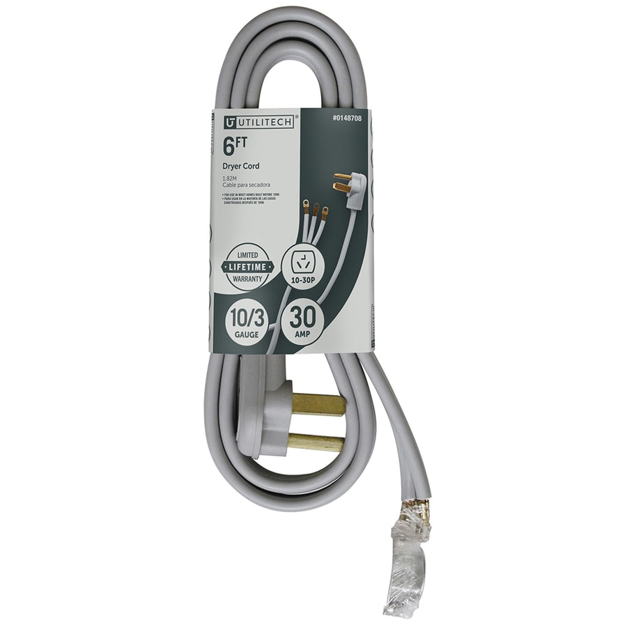 shop utilitech 6 ft 3 wire gray dryer appliance power cord at lowes com rh lowes com