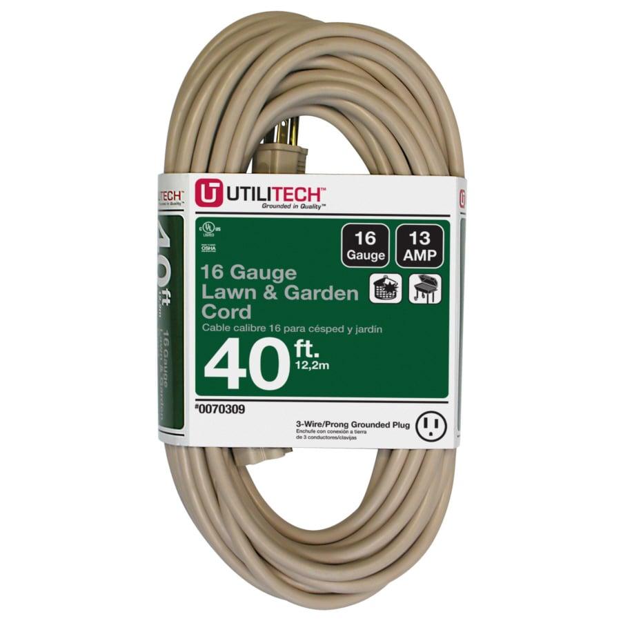 shop utilitech 40 ft 13 amp 16 gauge beige outdoor extension cord at. Black Bedroom Furniture Sets. Home Design Ideas