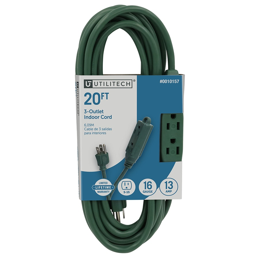 Utilitech 20-ft 13-Amp 3-Outlet 16-Gauge Green Indoor Extension Cord