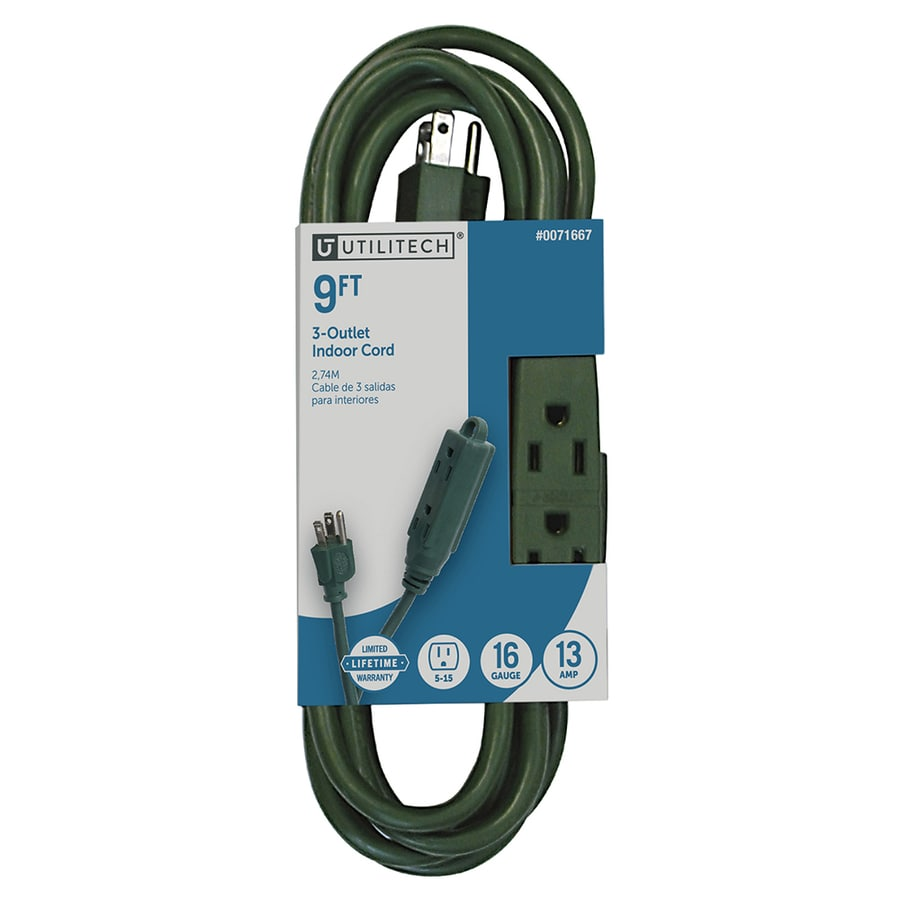 Utilitech 9-ft 13-Amp 3-Outlet 16-Gauge Green Indoor Extension Cord