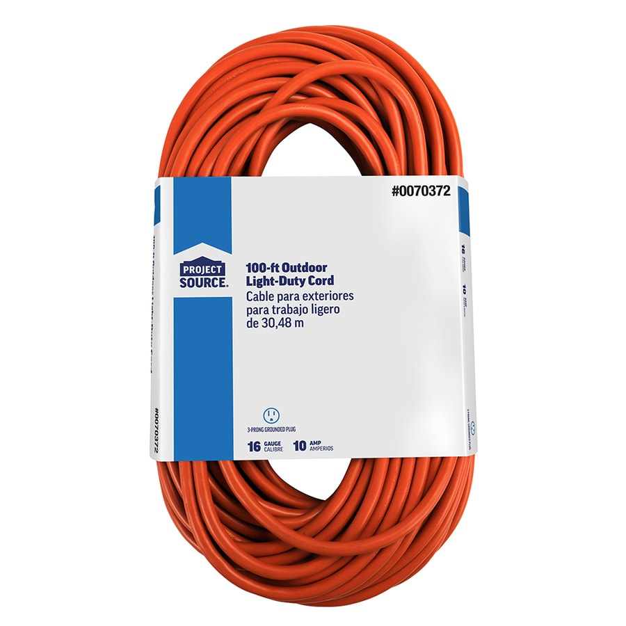 basic connections 100 ft 16 3 10 amp general extension cord at lowes com